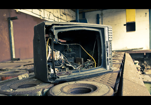 The smashed television