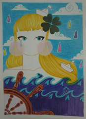 pedir ao mar por mais sorte (juliana rabelo ) Tags: illustration handmade drawing navy a3 coloredpencil lpisdecor hidrocor canetinha mallumagalhes