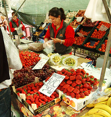 Red Stall at Calvia Market, Majorca, Spain, Europe (Puckpics) Tags: red colour green strawberry natural market charles vegetable business puckle environment produce reds marketstall fuit stockimage economicactivity ringexcellence charlespuckle lowimpactbusiness