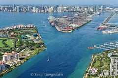 Entrance to the Port of Miami (Yankis) Tags: park beach water skyline port marina buildings spectacular boats island photography bay arthur amazing mac nikon downtown cityscape photographer view florida miami pov cut south aerial f mia fisher government pointe 28 seaplane causeway brickell 305 yanni 2470mm 2470 georgoulakis