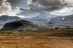 bakirkja church and snfellsjkull in a distance (mariusz kluzniak) Tags: summer mountain snow west church clouds circle landscape island iceland europe shadows view empty sony glacier arctic polar alpha scandinavia distance peninsula snfellsjkull bakirkja vast 580 icecap the4elements a580