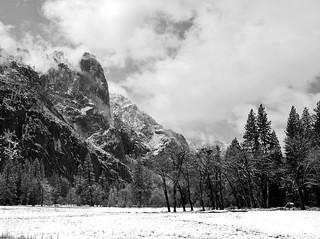 Sun breaks through in Yosemite Valley