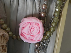 shabby pink ribbon rose (AllThingsPretty...) Tags: ribbonflowers ribbonroses fabricroses