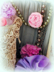 fabric flowers just for fun (AllThingsPretty...) Tags: ribbonflowers ribbonroses fabricroses