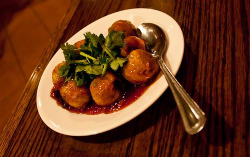 Pork Meatballs at SriPraPhai - Woodside, Queens