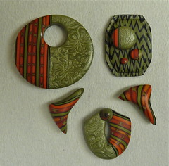 "2012 ""Thing A Day"" Day 22 Mica Shift (auntgriz) Tags: pendants polymerclaybeads knightworkstudio textureddesign polymerclayjewelrymicashift bordercane"