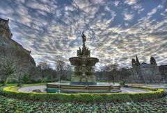 Ross Fountain (elementalPaul) Tags: sky clouds landscape scotland edinburgh edinburghcastle pentax tripod princesstreetgardens hdr castlerock sigma1020mm rossfountain photomatixpro 5xp k10d pentaxk10d