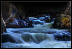 Stream, Cataract Gorge (darreng2011) Tags: longexposure water night canon dark eos lowlight rocks stream tasmania hdr launceston cataractgorge 600d duckreach