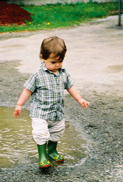 Wee One Playing a Puddle