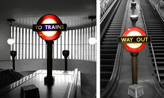 TO TRAINS & WAY OUT (Curry15) Tags: diptych tube artdeco londonunderground roundel selectivecolour bwcolour swisscottageundergroundstation stjohnswoodundergroundstation