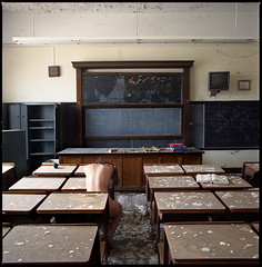 sitting naked in the classroom (silke s.) Tags: school selfportrait abandoned 120 6x6 film analog mediumformat classroom decay detroit hasselblad500cm fujipro800z autaut