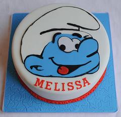Smurf Birthday Cake (thecustomcakeshop) Tags: birthday blue red white cake birthdaycake smurf smurfs