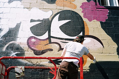 FLYING FORTRESS (JosephAbad) Tags: streetart film analog 35mm graffiti hawaii iso200 paint spraypaint olympusxa2 fujisuperia yashicaelectro35gsn kakaako powwowhawaii