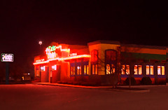 Carlos O'Kellys Cantina (mazzmn) Tags: restaurant rochester mexicanrestaurant cantina nightshot neon painterly psp pp red