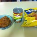 <p>One bowl of leftover BBQ Pulled Pork, a can of Refried Beans, Some corn chips and a bit of cheese made for a really nice easy tea.</p>