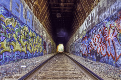 (BlackRockBacon) Tags: california art lines train graffiti paint pentax tracks bayarea eastbay martinez hdr k5 traintunnel photomatix tamron1750 pentaxk5