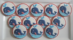 Whales! (Songbird Sweets) Tags: whales babyshower sugarcookies songbirdsweets jacksonbedding