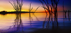 Shine Your Light on Me (southern_skies) Tags: trees sunset lake water colours dam australia queensland