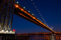 Patriotic Lights on the George Washington Bridge (SunnyDazzled) Tags: city newyorkcity bridge newyork water night lights george washington newjersey colorful cityscape view patriotic redwhiteandblue fortlee reflecttions