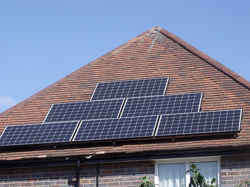 Solar panels - on a roof in Hall Green - side view