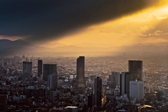 The spotlight (Tokyo, Japan) (marcusuke) Tags: city trip travel light sunset sky tower japan clouds tokyo nikon   mori  d300