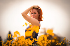 Katja and the field of gold (OsDreams) Tags: flowers portrait people sunlight sexy beautiful beauty field photoshop portraits person photography daylight photo adult sensual redhead shooting freckles redhair amateur photoart available lightroom sommersprossen fieldofgold rapeflower
