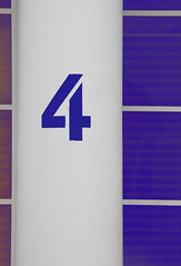 Four (Andrea Kennard) Tags: street blue abstract detail reflection texture window lines sign metal architecture silver square design symbol metallic background text 4 decoration digit objects plate number figure font type column address