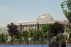Dushanbe - National Flag Park - National Museum and Snow-capped Mountains (jrozwado) Tags: park museum asia tajikistan dushanbe       nationalflagpark