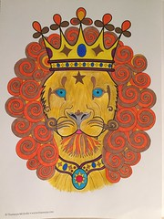 "I finished this lion tonight.  It is out of the ""Don't Worry, Be Happy"" book, artist Thaneeya McArdle.  I used Sharpies, and Polychromos in green-gold, dark cadmium yellow, and Payne's Grey. (f l a m i n g o) Tags: color relax book artist lion calm coloring marker sharpie coloredpencil polychromos 19227"
