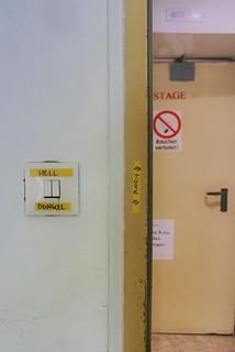 Yellow Tape Labels: Hell Light Dunkel Dark Türe Door - Looks like a colleague felt bored :-) (Stage Callers` & Prompters` Office Dienstzimmer Inspizienten Souffleusen)