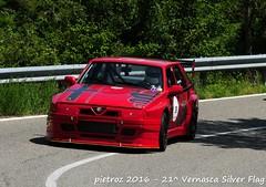 DSC_6542 - Alfa Romeo 75 Turbo IMSA - 1985 - Castelli Gian Maria - Valtellina Veteran Car (pietroz) Tags: silver photo foto photos flag historic fotos pietro storico zoccola 21 storiche vernasca pietroz