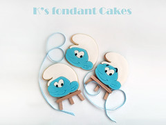 Smurfs Cookies (K's fondant Cakes) Tags: blue white cookies smurf fondant