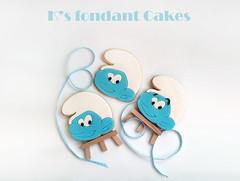 Smurfs Cookies (K's fondant Cakes) Tags: blue white cookies smurf fondant