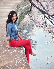 Cherry Blossom (Sky Noir) Tags: blue trees red woman usa white flower festival japan cherry photography centennial dc washington spring blossom district united unitedstatesofamerica blossoms peak columbia basin national bloom  sakura states 1912 tidal 2012