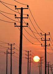 Entangled (Bhaskar Dutta) Tags: light sunset sun india golden wire power pole electricity entangle motifdchallengewinner gettyimagesmiddleeast yahoo:yourpictures=yourbestphotoof2012