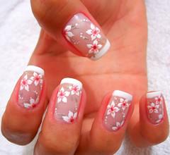 Flowers (Chá de Unhas) Tags: pink flowers flores art french nail unha francesinha