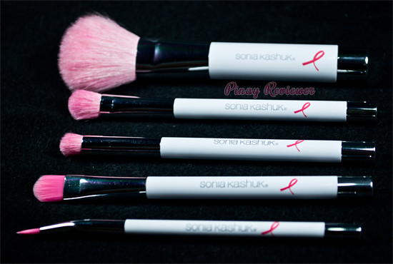5 brushes included in the Sonia Kashuk Breast Cancer Awareness Proudly Pink Brush Set