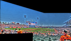 SF Giants Baseball Field HDR Panorama (Walker Dukes) Tags: sanfrancisco california blue red sky people urban sculpture orange sun white signs black men green art beer sunshine leather photoshop canon landscape fun lights bottle screenshot women warm cityscape grunge tshirt flags jumbotron diamond mascot dirt greens glove hotdogs cocacola players loud crowds crowded louseal photomatix tonemapping attbaseballpark timlincecum canons95