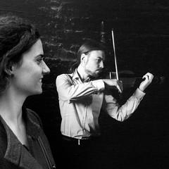 the violinists (Bim Bom) Tags: bw square violin trompeloeil liège amanandawoman stretlife cesarfranck