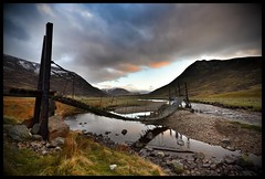 The Old Bridge (Michael~Ashley) Tags: old bridge sunset mountains clouds scotland highlands glenshee suspension footbridge scottish hills burn clunie