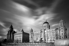 Graces...... (Digital Diary........) Tags: longexposure bw liverpool movement le threegraces weldingglass