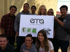 Malin Akerman, EMA Presidend Debbie Levin, and students