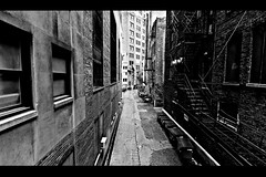 Dark Alley (vonderauvisuals) Tags: life city b urban bw white chicago cinema black get apple look contrast photoshop canon dark lens illinois high scary alley aperture bars midwest mood alone cityscape angle post zoom empty w feel wide gimp center gritty dirty tokina spooky 7d processing dumpsters environment feeling mm visuals cinematic tone jumped chicagoist 1116 vonderau vonderauvisuals