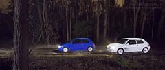 Rallye! (Luuk van Kaathoven) Tags: blue original white night woods 106 van peugeot rallye lightpaint luuk luukvankaathovennl kaathoven