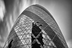 The Cloudy Gherkin (TheFella) Tags: city uk longexposure greatbritain england sky blackandwhite bw reflection building slr london glass monochrome architecture clouds digital skyscraper photoshop canon eos photo high europe dynamic unitedkingdom capital thecity landmark photograph processing slowshutter gb 5d dslr range gherkin hdr highdynamicrange markii postprocessing photomatix thefella 5dmarkii conormacneill thefellaphotography