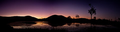 A Lakeside Sunset (Matthew Post) Tags: sunset panorama lake twilight dam silhouettes ducklings australia ridge queensland ridgeline afterglow gympie widgee