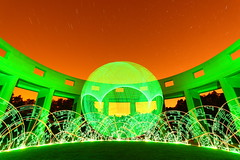 Raiders of the Astral Tempel of Doom (quornflake) Tags: longexposure orange lightpainting green night stars weird orb wtf trippy startrails digitallightwand