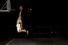 Dunk (Joshua Folsom) Tags: shirtless guy sports basketball night air dunk hops hight