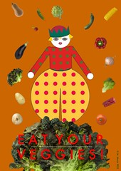 Vigorously Vegan (Flick Chick2) Tags: food vegetables collage mobile illustration poster mashup hats artdeco app ipad ipadsketch ipadpainting ipaddrawing
