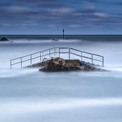 Bridge [Explored] (Martin Mattocks (mjm383)) Tags: longexposure sea seascape colour water clouds canon rocks cornwall horizon rails groyne